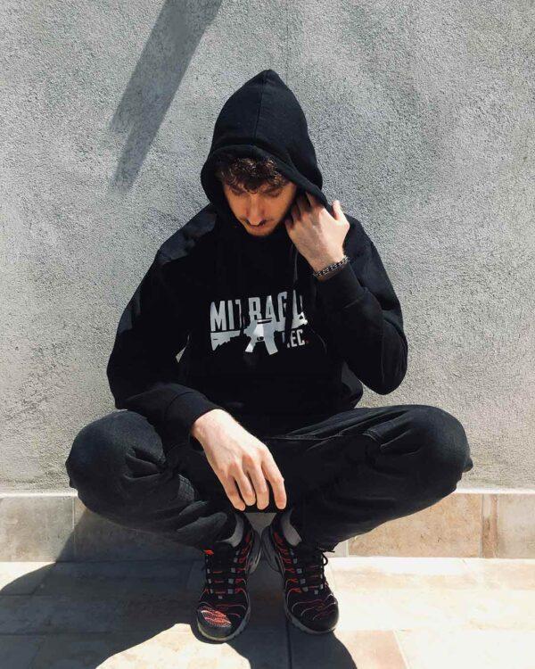 Mitraglia Rec. - Joe Sfrè wearing the Official Black Hoodie, Product Shot